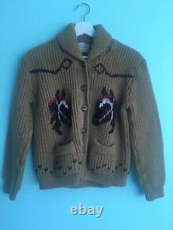 1940s 40s 50s 1950s Novelty Horse Knit Wool Cowichan Sweater Cardigan Rare XS