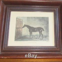 4 lot rare vintage horse color etching Equestrian Horse Jumping racing signed