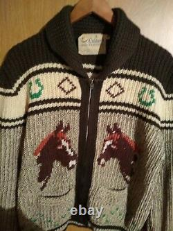 50'S Vintage Zip-Up Kautin Sweater Made In Canada Rare Cowboy Pattern size M