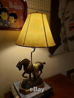 ART DECO Vintage Sculpture HORSE Lamp, Solid BRASS, Flawless Very Heavy Rare