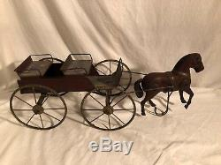 Antique Tin Horse and Wagon Pull Toy Large Vintage and Rare