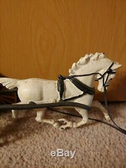 Antique Vintage Cast Iron Horse Drawn Carriage Woman Wagon RARE