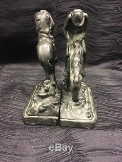 Atq Vtg Armor Bronze Co Clad Trail Of Tears Bookends Horse Indian Rare Book Ends
