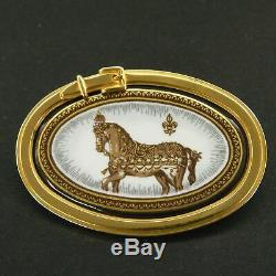 Auth HERMES Vintage RARE! Email Cloisonne Horse Pin Brooch Accessory 6622mkac