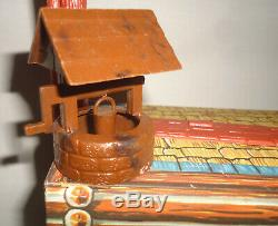 BIG! Vintage Marx Fort Apache Lot TIN Calvary Supply Building Porch RARE HORSES