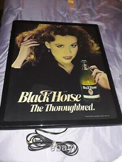 Black Horse Ale Beer Lighted Sign Vintage Sexy Woman Rare