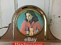 Budweiser Clydesdale Lighted Beer Sign Breweriana Vintage Girl Women Horses Rare
