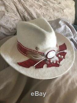 Charlie Horse White Rabbit Fur Richard Petty Hat Rare Cowgirl Vintage 6 7/8Rare