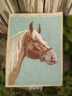 Fantastic mcm Vintage 1951 paint by number horse on canvas rare picture craft