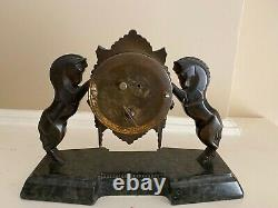 French Mantle Clock Bronze Horses Dep Vintage Eight Day Time Rare
