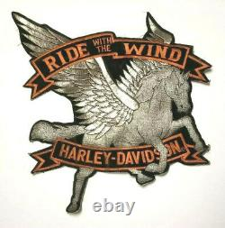 Harley Davidson Patch 13x12 Ride With The Wind Large Pegasus Horse Vtg Back Rare