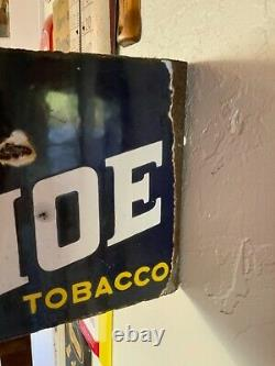 Horse Shoe Tobacco Vintage Two-sided Porcelain Flange Sign Extremely Rare