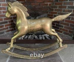 LARGE 24 x 29 Rare Vintage / Antique Brass (with Patina) Rocking Horse (19 lb)