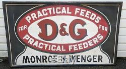 Large D&G Feed Farm Sign VTG Metal Store Display USA Cattle Horse Rare Barn Tin