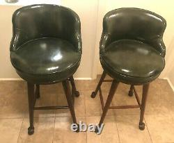 Pair Of Vintage Rare Early Baker Furniture Green Leather & Horse Hoof Bar Stools