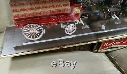RARE! ANTIQUE-Vintage Budweiser Clydesdale Horse and Wagon (indoor)