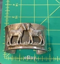 RARE GALE SELF CHOCTAW Sterling 3D Horses Cuff Heavy Vintage Southwest
