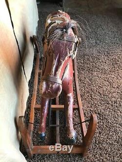 RARE RED Antique Victorian Vintage Rocking Carousel Glider Horse Whitney Reed