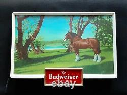 RARE VINTAGE BUDWEISER KING OF BEERS CLYDESDALE HORSE Light Up Sign WORKS