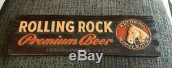 RARE VINTAGE ROLLING ROCK BEER LITTLE NIP COMPOSITION SIGN With HORSE LATROBE PA