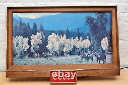 RARE Vintage Coors Light wall Hanging bar plaque sign Lamp horses cowboys LARGE