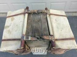 RARE Vintage Leather and Canvas Panniers Horse or Mule Pack