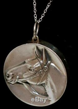 RARE Vtg HORSE. 999 STERLING HENRYK WINOGRAD High Relief Pendant Necklace