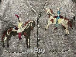 Ralph Lauren Womens Cardigan Country Native Horses Pattern Used Vintage Rare F/s