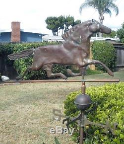Rare 1940's Vintage Orig Antique Patinated Copper Horse Weathervane With Compass