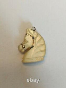 Rare Antique Victorian Mother of Pearl and gold Horse Head Equestrian Pendant