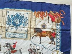 Rare Authentic HERMES Silk Scarf Real Escuela Andaluza 35x35 Blue Vintage