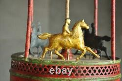 Rare Early German Vintage Wind Up Handpainted Horse Carousel Tin Toy, Germany