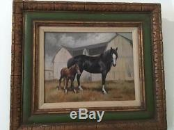 Rare Phyllis Fullerton Mare & Foal Horse Vintage Oil Painting