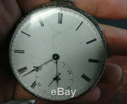 Rare Pocket Watch Vacheron Early 1800s Key Wind Coin Silver Case Horse Engraved