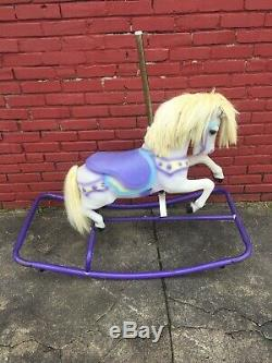 Rare Purple White Vintage Flexible Flyer Musical Carousel Rocking Horse