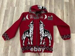 Rare RUMINAHUI WOLF Mens Wool Zip Up Hooded Sweater WOLVES RED Vintage Jacket L