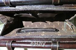 Rare VTG American West tooled leather handbag tapestry horse convertible purse