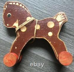 Rare Vintage 1942 Fisher Price Animal Cut Out Horse #20 Wood Pull Toy As Is