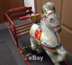 Rare Vintage 1950's Triang Metal Riding Rocking Horse with Wood Slat Seat