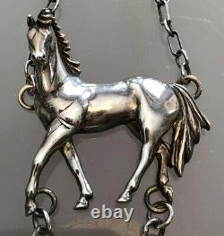 Rare Vintage 1991 Carol Felley Sterling Silver Horse With Turquoise Necklace