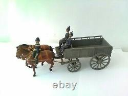 Rare Vintage Britains Military Army Wagon And Horses With Soldier Figures Very