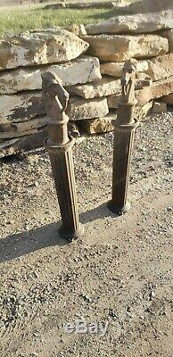 Rare Vintage CAST IRON HORSE HEAD HITCHING POST with Iron Post Great Gift Idea