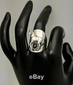 Rare Vintage Carol Felley Sterling Silver Horse ring with Onyx