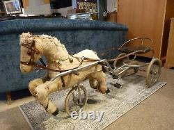 Rare Vintage Child's 1930's Sulky Hide Covered & Straw Filled Horse Pedal Trike