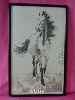 Rare Vintage Early 50s'Xu Beihong' Horse Print in Original Frame Excellent