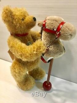 Rare! Vintage Hermann Stick Hobby Horse Toy With Mohair Bear Germany