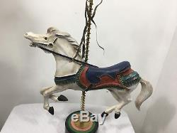 Rare Vintage Large Carousel Horse Cast Aluminum Marble Base Hand Painted Signed