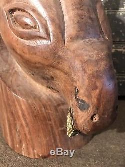Rare Vtg 60s LEE BERNAY Abstract Egyptian Horse Head Carved Wood Sculpture MCM
