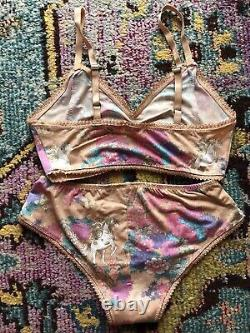 Spell And The Gypsy Wild Horses Lingerie Intimates Set Blush Size M Vintage Rare