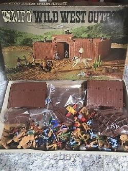TIMPO TOYS VINTAGE USA 7th CAVALRY & INDIAN BOXED WILD WEST OUTPOST SET RARE